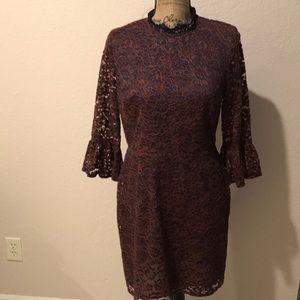NWT TopShop Navy and Orange lace dress